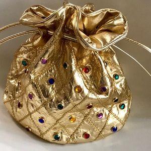 Vintage 80s Gold Jeweled Crossbody Bag